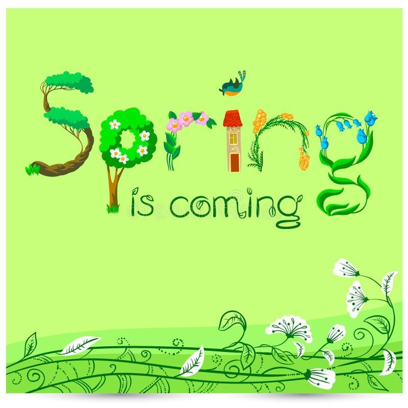 De lente is komend hand getrokken het van letters voorzien inspirational citaat seaso royalty-vrije illustratie