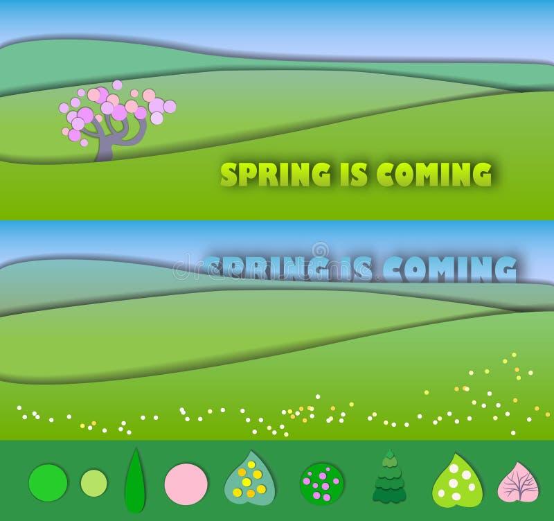 De lente komt Het begin van de lente Conceptenverandering van seaso stock illustratie