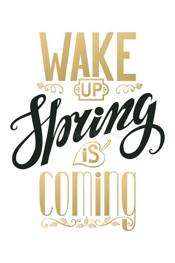 De lente komt Het uitstekende Van letters voorzien Zwarte, goud verticaal royalty-vrije illustratie