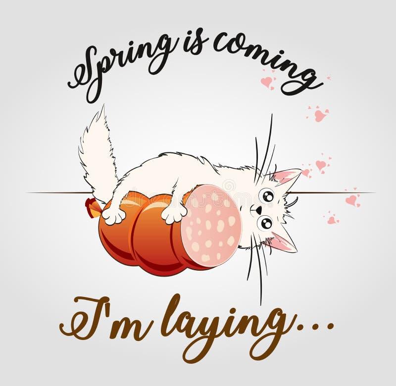 De lente komt I het leggen van ` am Leuke kat vector illustratie