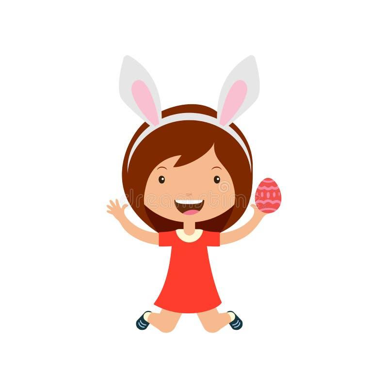 De lente lachend springend meisje die in rode kleding met konijntjesoren ei in hand houden royalty-vrije illustratie