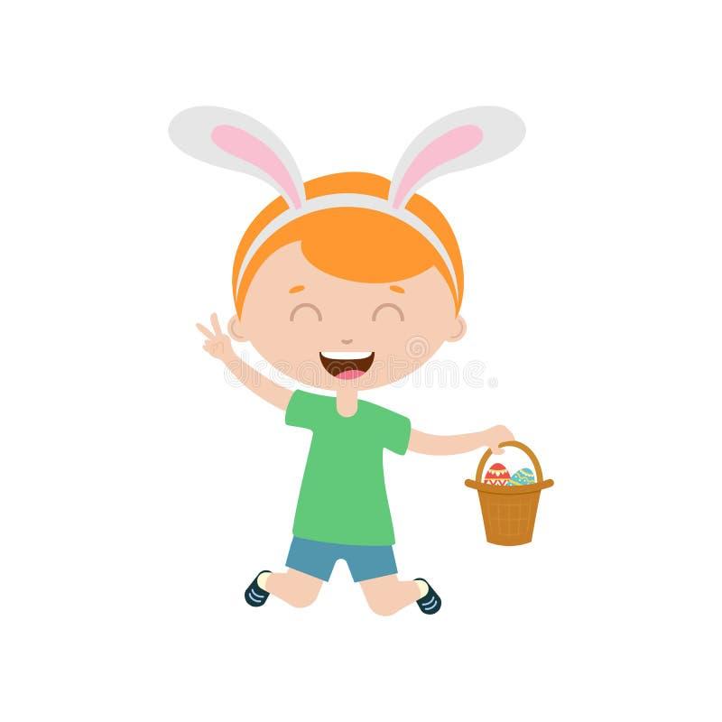 De lente lachende springende jongen die met konijntjesoren mand met ei houden royalty-vrije illustratie