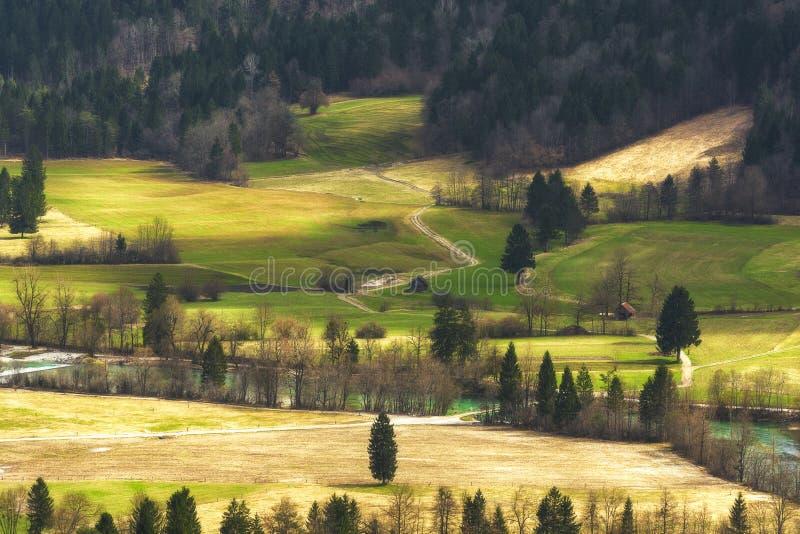 De lente landelijk landschap in Slovenië stock afbeelding