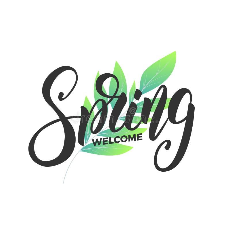 De lente De manuscript van letters voorziende Lente en verse bladeren Kaart voor seizoengebonden promo, verkoop enz. vector illustratie