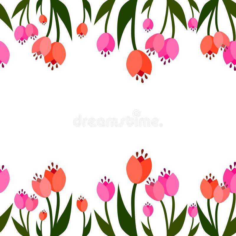 De lente naadloze grens Tulpen het groeien royalty-vrije illustratie