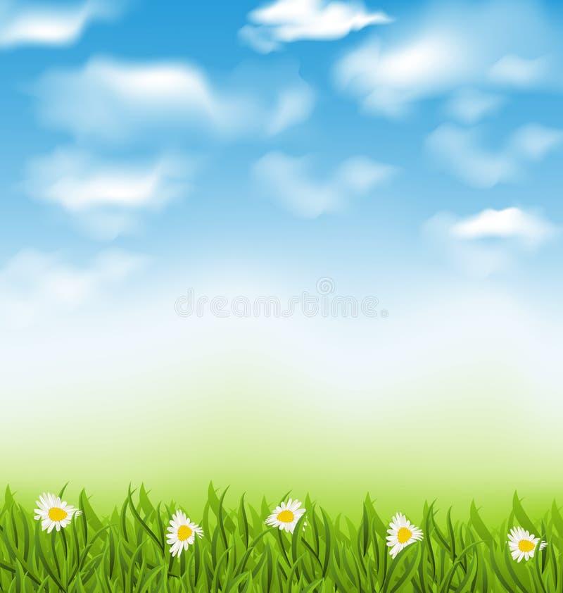 De lente natuurlijke achtergrond met blauwe hemel, wolken, grasgebied en vector illustratie