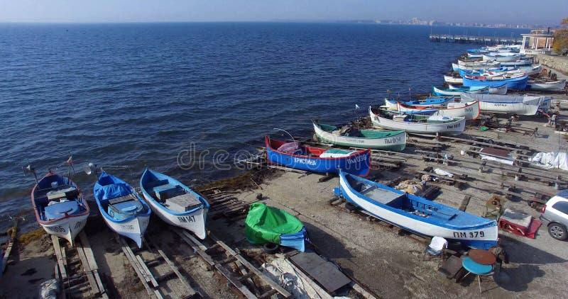 De lente over de Pomorian-baai in de Zwarte Zee Bulgarije royalty-vrije stock foto's