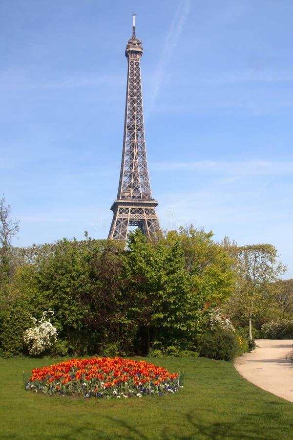 De lente in Parijs, Frankrijk De Toren van Eiffel stock foto