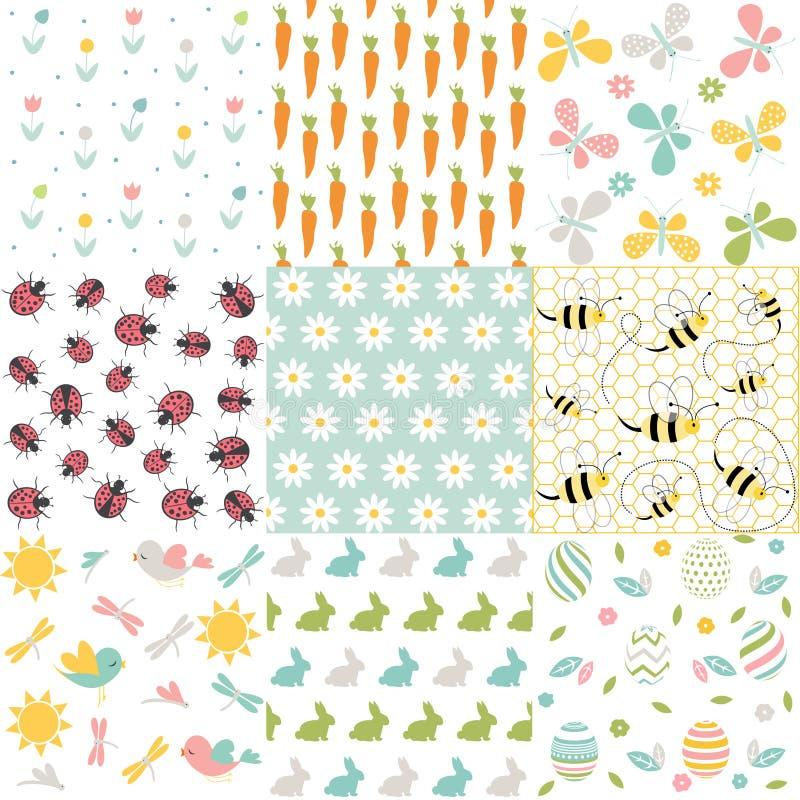 De lente, Pasen-patronen Vector naadloze achtergronden vector illustratie