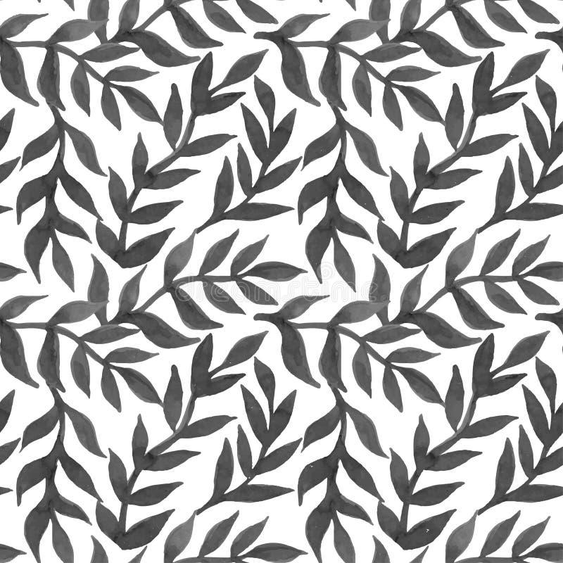 De lente verlaat naadloos waterverf patroon-model voor ontwerp van gi stock illustratie
