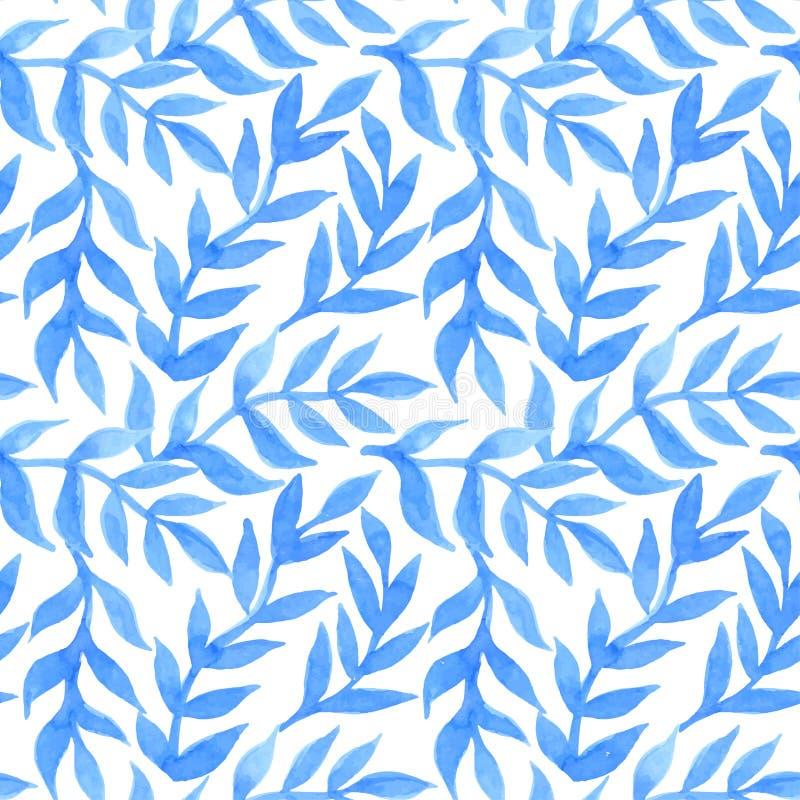 De lente verlaat naadloos waterverf patroon-model voor ontwerp van gi vector illustratie