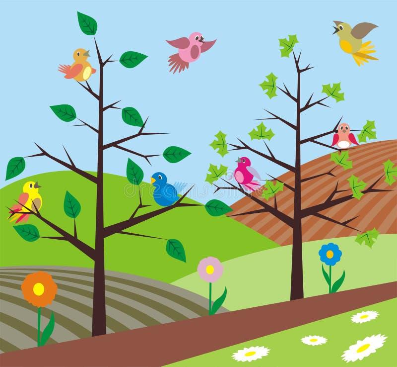 De lente - vogels het zingen stock illustratie