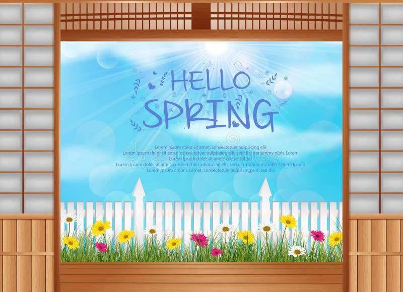 De lenteachtergrond achter de geopende deuren met houten omheining en madeliefjesbloemen vector illustratie