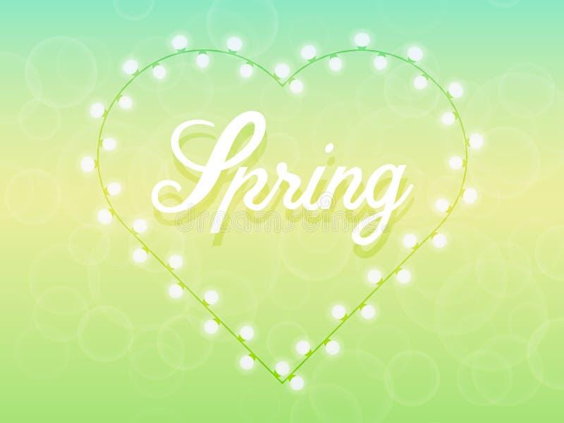 De lenteachtergrond met gevoelige groene en blauwe tonen royalty-vrije illustratie