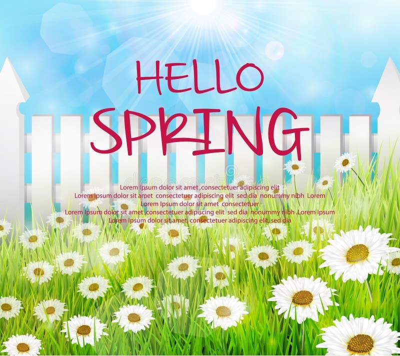 De lenteachtergrond met houten omheining en madeliefjesbloemen in het gras royalty-vrije illustratie