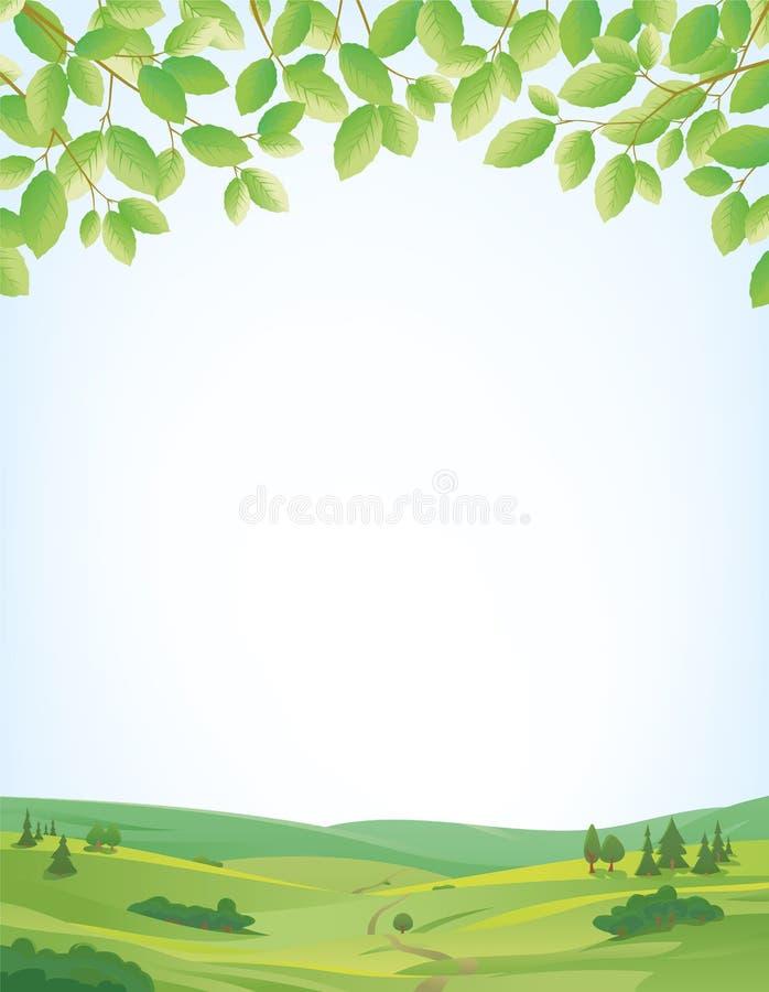De lenteachtergrond met landschap en bladerengrens royalty-vrije illustratie