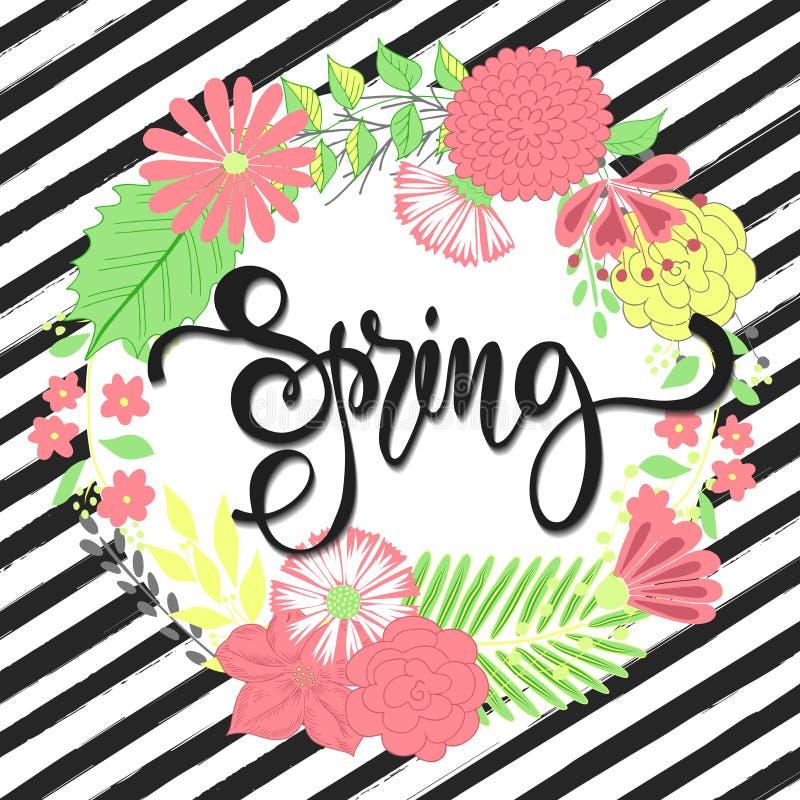 De lenteachtergrond met mooie bloemen Groetkaart met hand het getrokken van letters voorzien Vectorillustratiemalplaatje, banners vector illustratie
