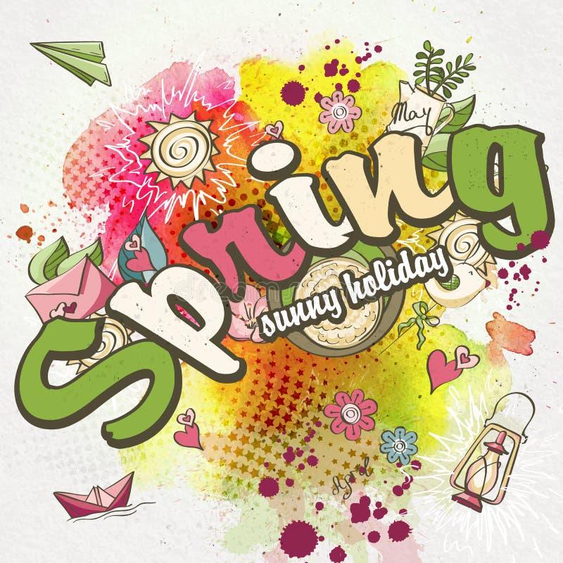De lenteachtergrond met waterverfvlekken en gekleurde krabbels stock illustratie