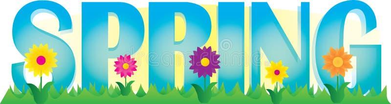 De lentebanner met bloemen en gras vector illustratie