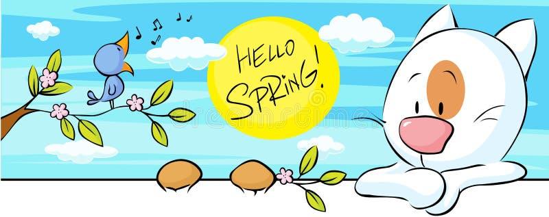 De lentebanner met het zingen vogel en kat en bloembloesem - vector stock illustratie
