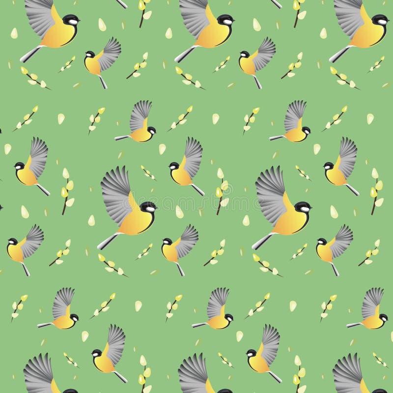 De lentebehang met vogels Achtergrond vector illustratie