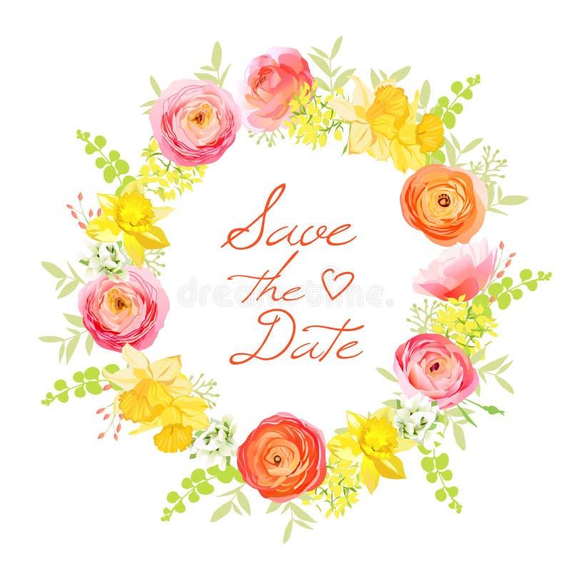 De lentebos van roze, ranunculus, narcissen, pioen, bessenronde stock illustratie