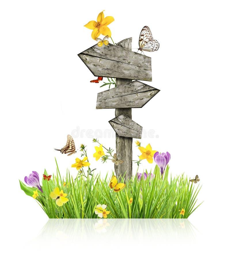 De lenteconcept met tekenpost stock afbeeldingen