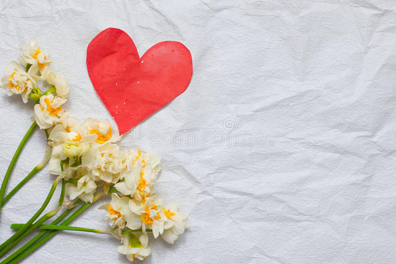 De lentegele narcissen bouqet op de witte ambachtdocument achtergrond en royalty-vrije stock foto