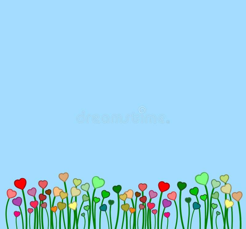 De lentehemel met sommige kleurrijke bloemen zoals harten stock illustratie