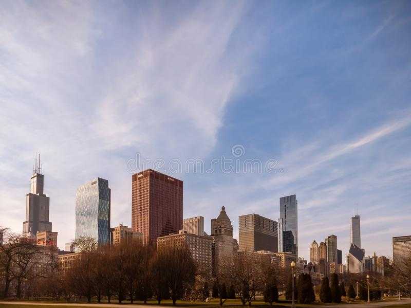 De lentehorizon in Grant Park, Chicago stock foto's