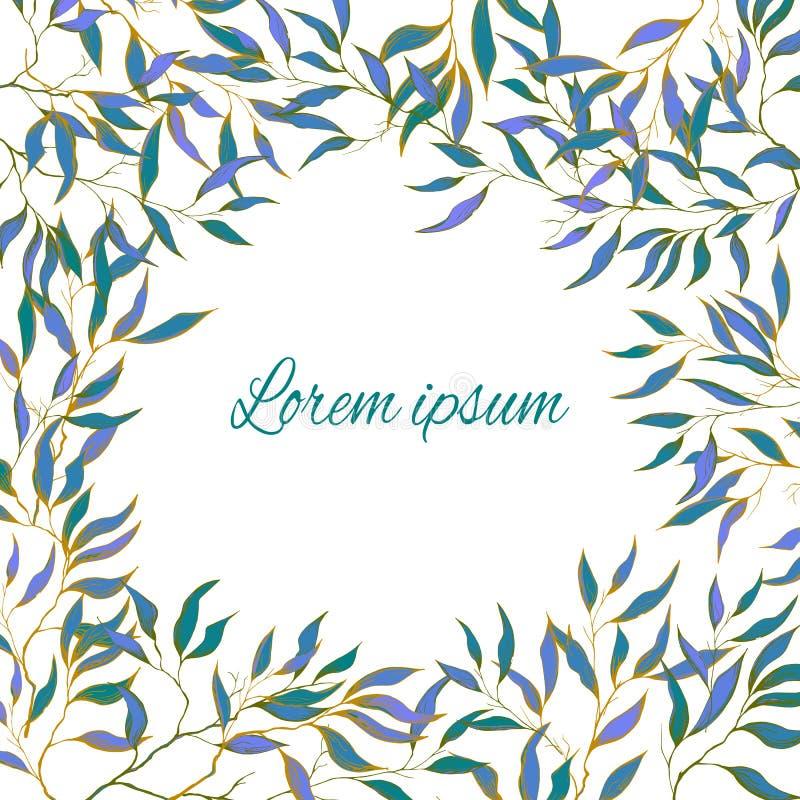 De lentekaart met gevoelige groene bladeren Natuurlijk botanisch editable patroon Tekstframe voor gelukwensen stock illustratie