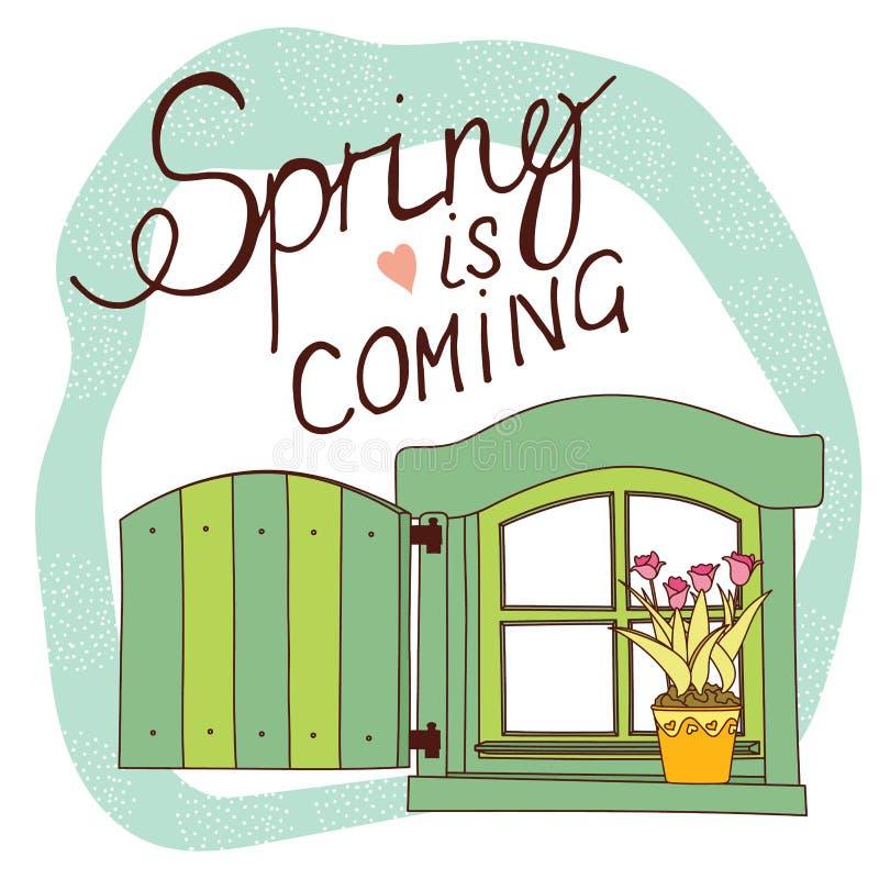 De lentekaart met uitstekend venster en tulpen in de pot royalty-vrije illustratie