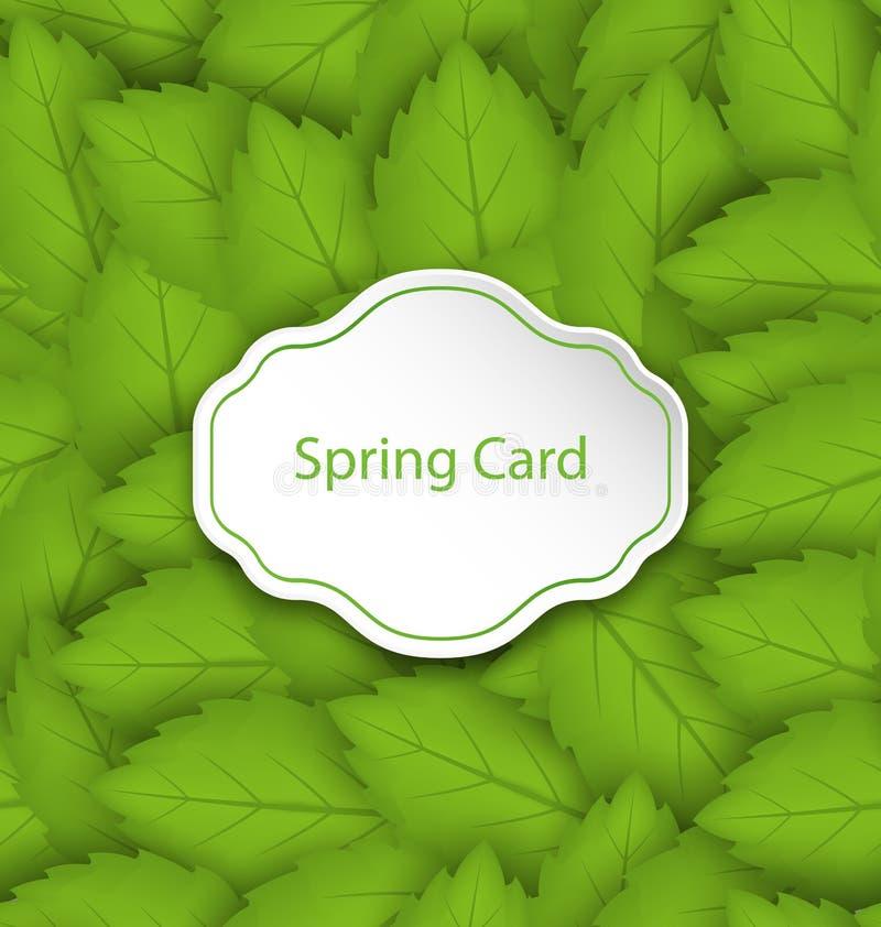 De lentekaart op Naadloos Modieus Patroon met Groene Bladeren vector illustratie
