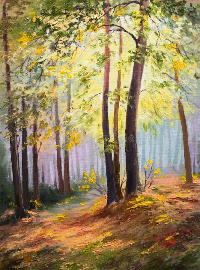 De lentelandschap, bomen in het bos, kleurrijke olieverfschilderij royalty-vrije illustratie