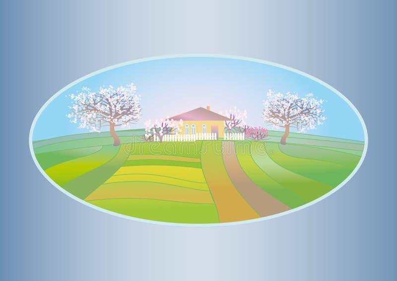 Download De Lentelandschap Met Bloeiende Bomen Vector Illustratie - Illustratie bestaande uit land, blauw: 39103129