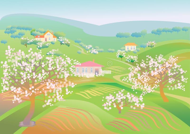 Download De Lentelandschap Met Bloeiende Bomen Vector Illustratie - Illustratie bestaande uit achtergronden, ontwerp: 39103363