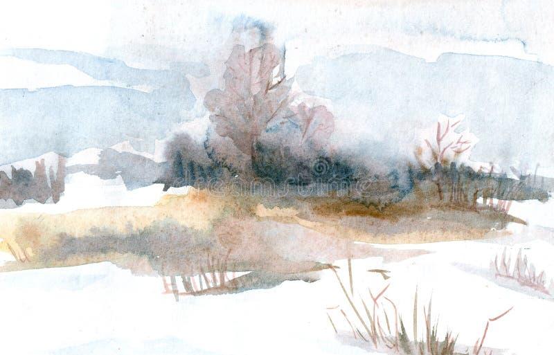De lentelandschap met bomen op het gebied De illustratie van de waterverf stock illustratie