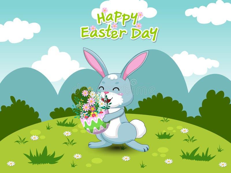 De lentelandschap met leuk beeldverhaalkonijn en ei en bloemen De kaart van de groet Vectorillustratie decoratief element op Pase stock illustratie