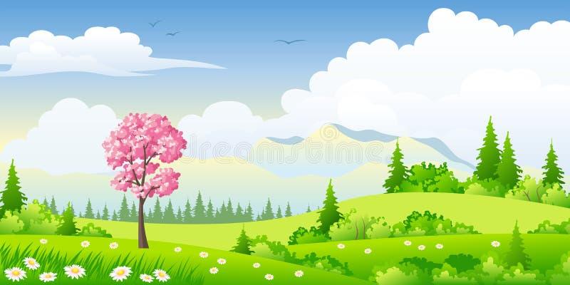 De lentelandschap met tot bloei komende boom vector illustratie