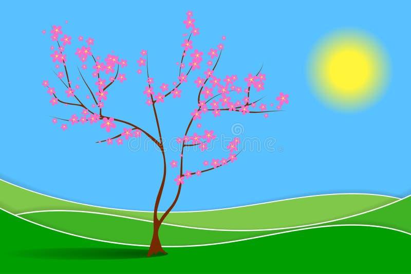 De lentelandschap met weide en de tot bloei komende boom royalty-vrije illustratie