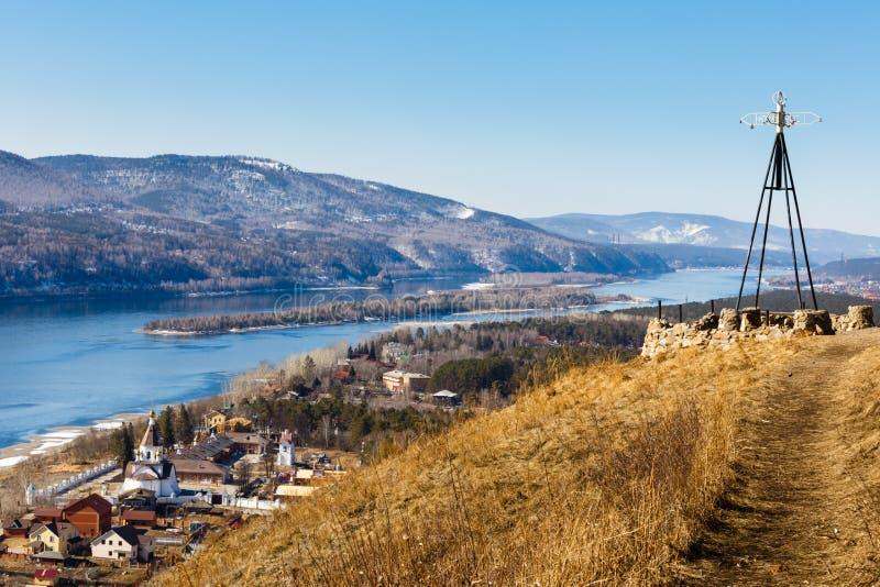 De lentelandschap van Rusland Siberië Krasnoyarsk stock foto's