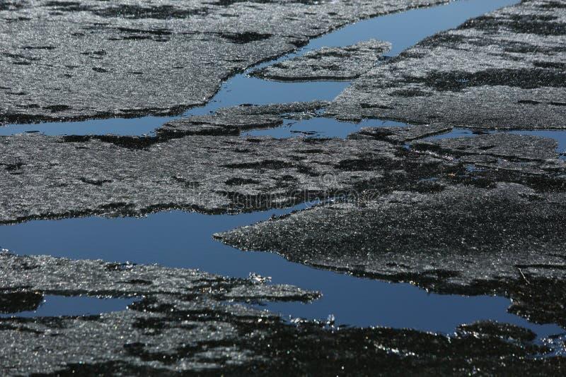 De lentemeer met ijs en open water stock fotografie