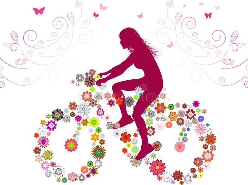 De lentemeisje op fiets vector illustratie