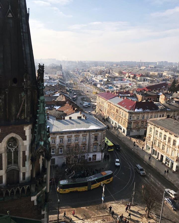 De lentemening van de Lviv oude stad royalty-vrije stock foto