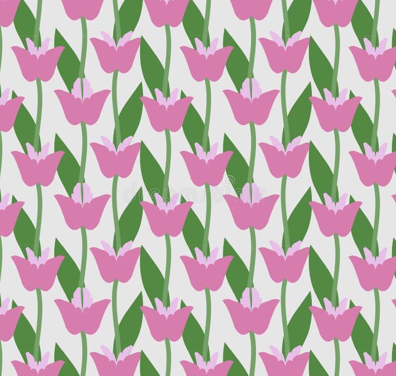 De lentepatroon van roze tulpen, naadloze vector vector illustratie