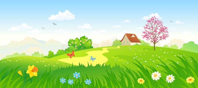 De lenteplatteland royalty-vrije illustratie