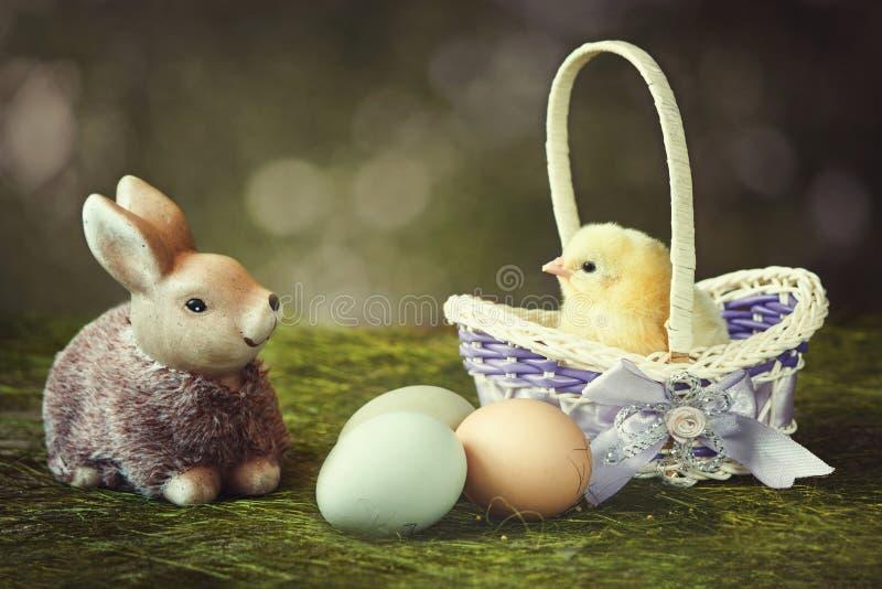 De lenteprentbriefkaar met een mooi konijntjesstuk speelgoed en een kleine kip in een mand stock foto