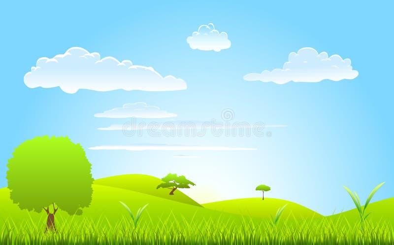 De lentescène van het landschap vector illustratie