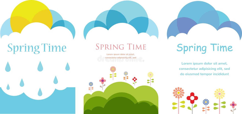 De lentetijd. Drie kaarten met wolken, zon en bloemen stock illustratie