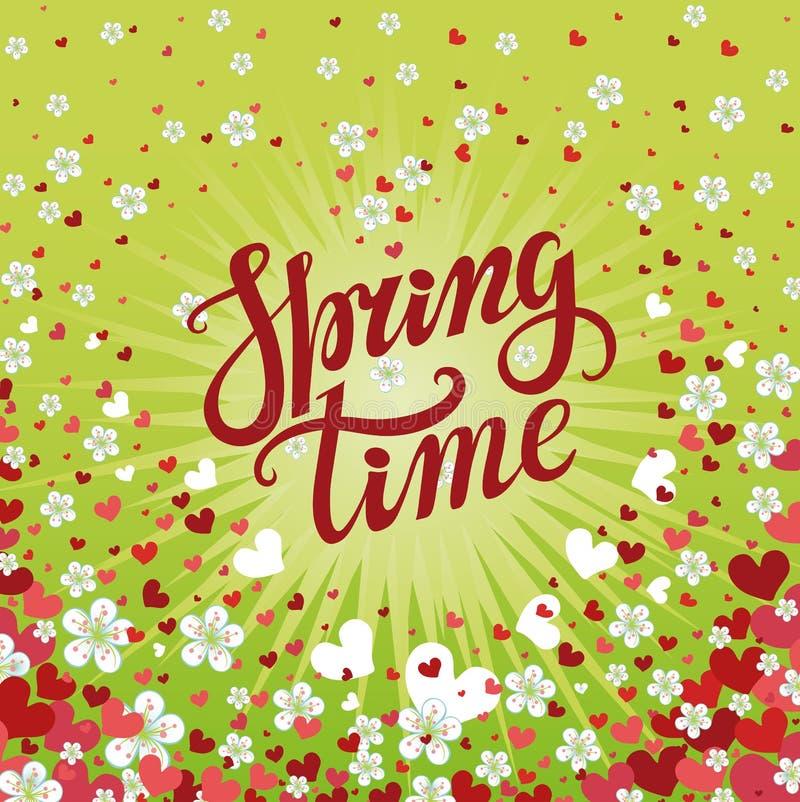 De lentetijd het van letters voorzien Kersenbloemen, dalende hartachtergrond vector illustratie